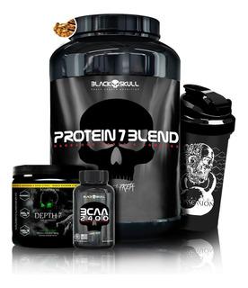 Kit Protein 7 + Depth-7 100g + Bcaa + Coq - Black Skull