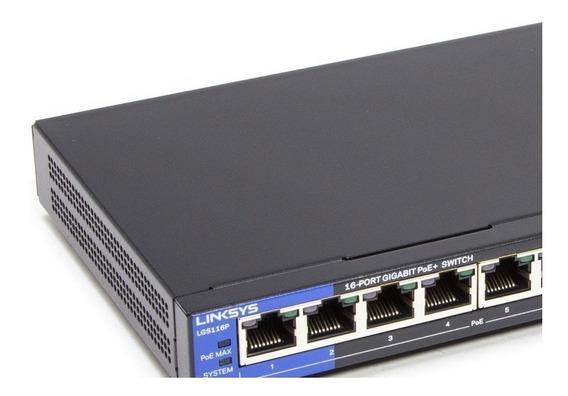 Switch Cisco-linksys Lgs116p Poe+ Gigabit