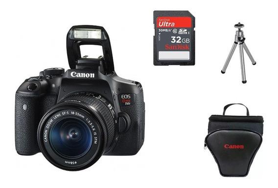 Câmera Canon Eos T6i+18-55+bolsa+tripé+32gb