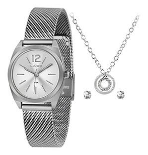 Kit Relógio Fem Lince Puls Aço Ref. Lrmh121l-kx33s2sx