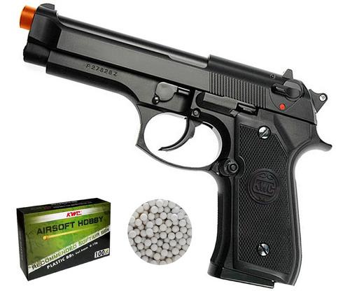 Imagem 1 de 5 de Pistola Airsoft 6mm Kwc M92 Mola Spring 230fps Cano Metal