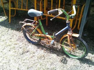Muy Antigua Bicicleta De Niño Plegable Original Pintura
