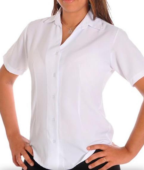 Camisete Camisa Social Feminina Gabardine Manga Curta Kit6