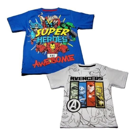 Kit Com 7 Camisas Infantis De Super Heróis - Roupas Kids