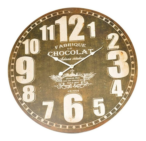 Imagem 1 de 3 de Relógio De Parede Decorativo Fabrica De Chocolate - 58 Cm