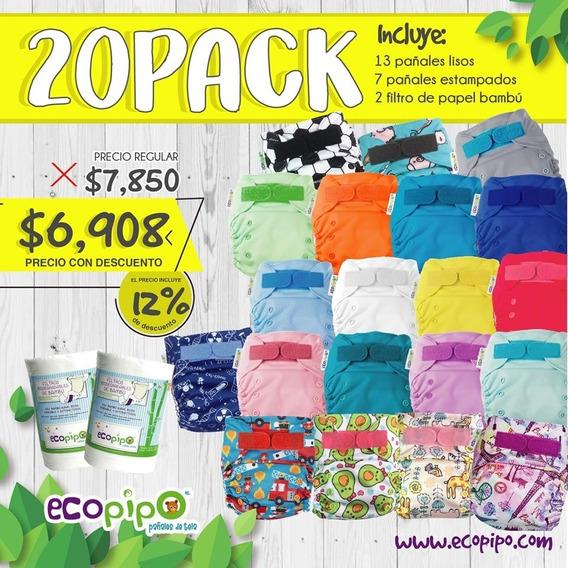 20 Pack Pañales De Tela Ecopipo Reutilizables Con Garantía