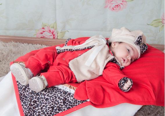 Kit Saída De Maternidade Oncinha Menina - Vermelha - Bebe