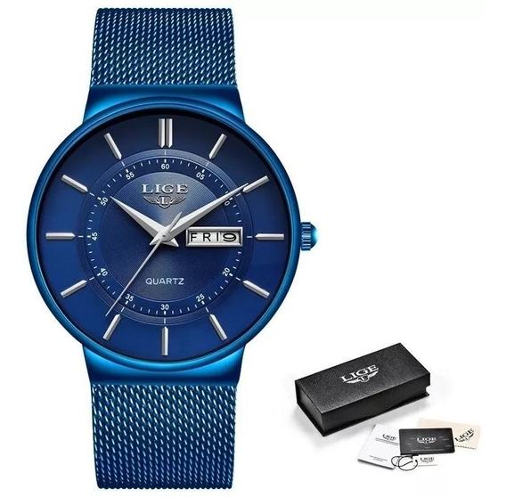 Relógio Masculino Lige Luxo Slim Casual Original Prova D Agu