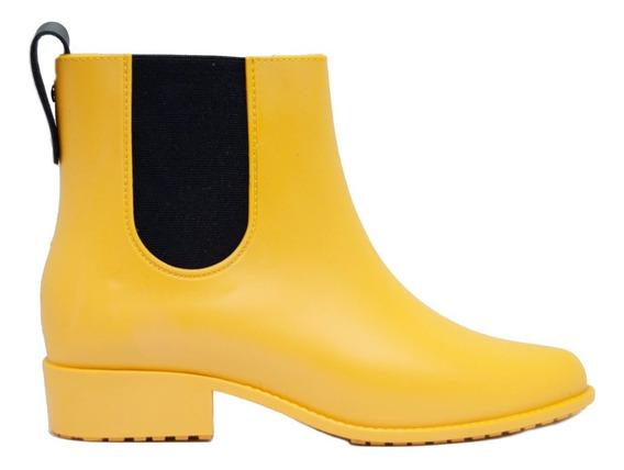 Botas De Lluvia Mujer Goma Amarillo Elástico