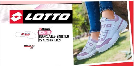 Tenis Lotto Dama Blanco/lila 635-18 Cklass Sport 1-20 A