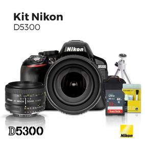 Câmera Nikon D5300 18-105mm + Lente Nikon 50mm 1.8 D + Kit