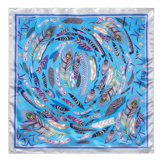Alexandra Shawls Mascada Las Plumas/azul 100% Seda Raso