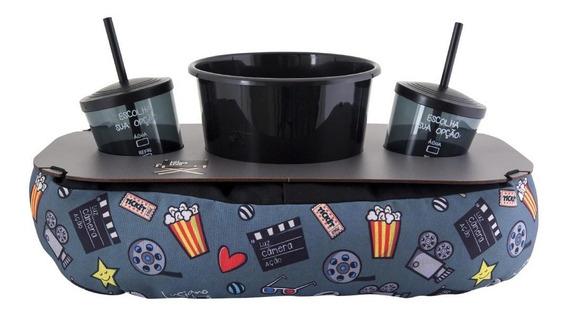 Almofada Porta Pipoca Luz Câmera Ação Kit + Balde + 2 Copos