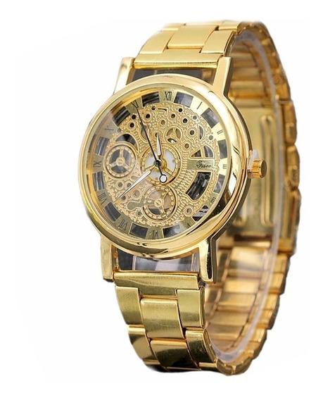 Relógio De Aço Em Liga De Perspectiva Oca - Ouro