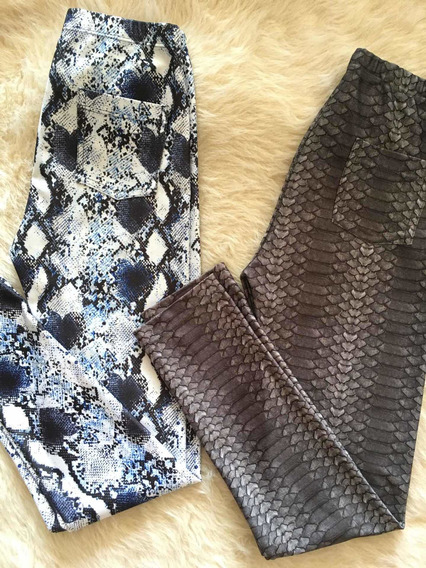 Set X2 Calzas Estampadas Nena Animal Print Licra Largas