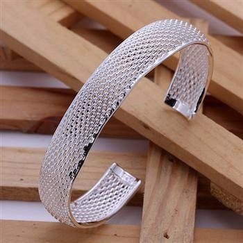 Moderno Bracelete Em Prata 925 Malha Trabalhada