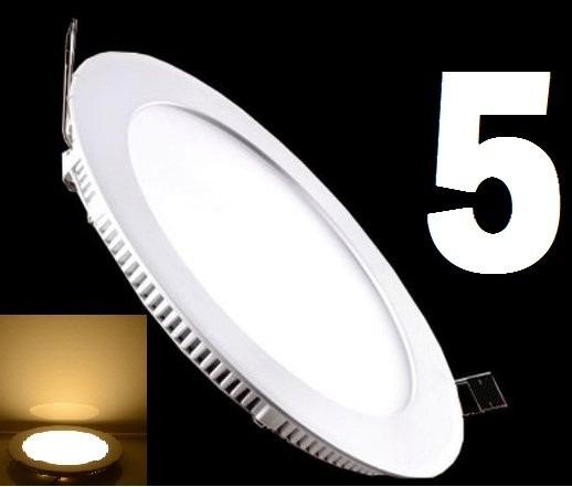 5 Painel Plafon Spot 25w Led Slim Redondo Luz Quente Embutir
