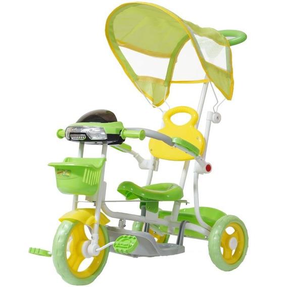 Triciclo Motoca Infantil Passeio Empurrador Pedal Som Verde