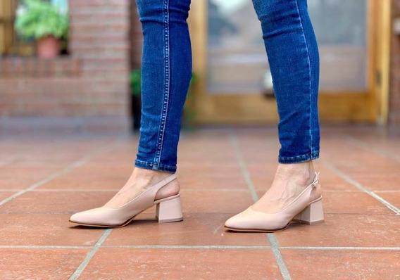 Zapato De Cuero. Taco 5 Cm Punta Fina Del 35 Al 40 - Budapest Shoes - Art. 5808