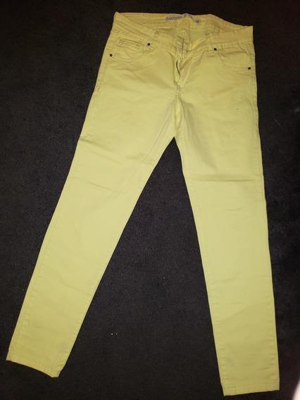 Pantalón Jean Amarillo De Materia Talle 28 Mujer