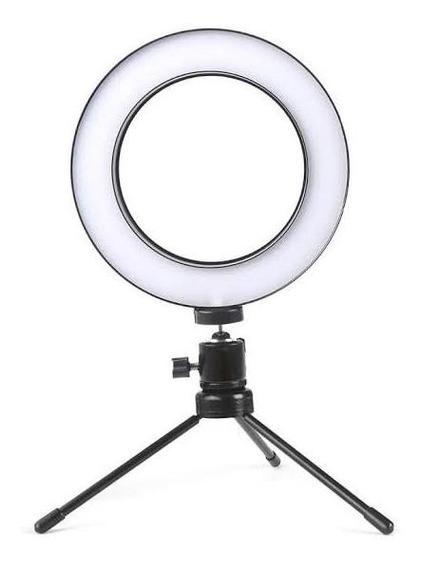 Iluminador Selfie Led Tripé Ring Light Usb 16 Cm 3500k 5500k