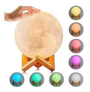Lampara Velador Recargable Usb Luna Llena 18 Cm