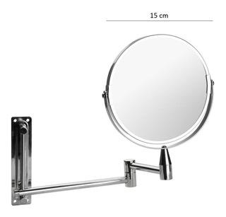 Espejo Tijera Metalico Móvil Aumento Baño 2 Caras Cromo