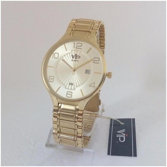 Relógio Masculino Vip Quartz Mh295 Dourado Original 12x S/j