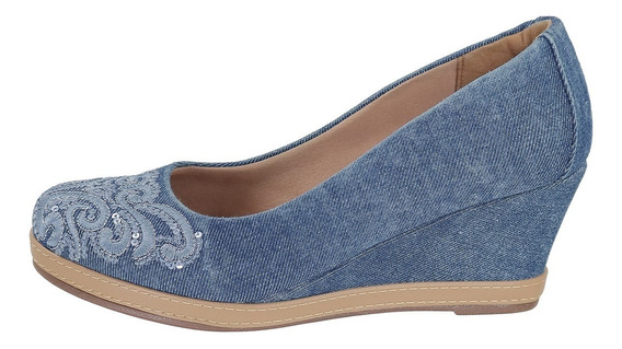 Sapato Scarpin Feminino Anabela Jeans