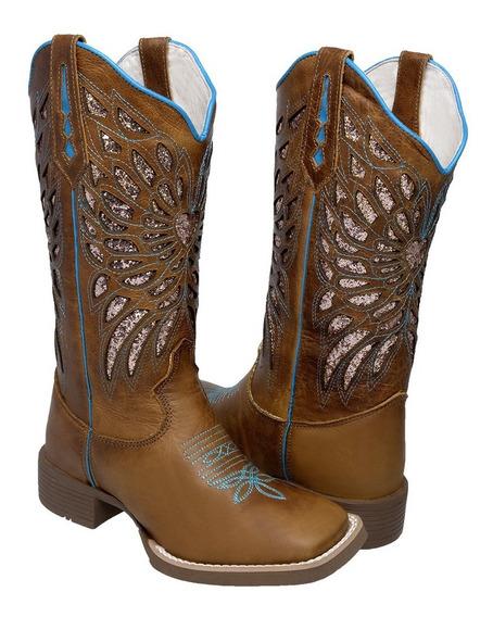 Bota Feminina Botina Texana Cano Longo Country Coturno Couro