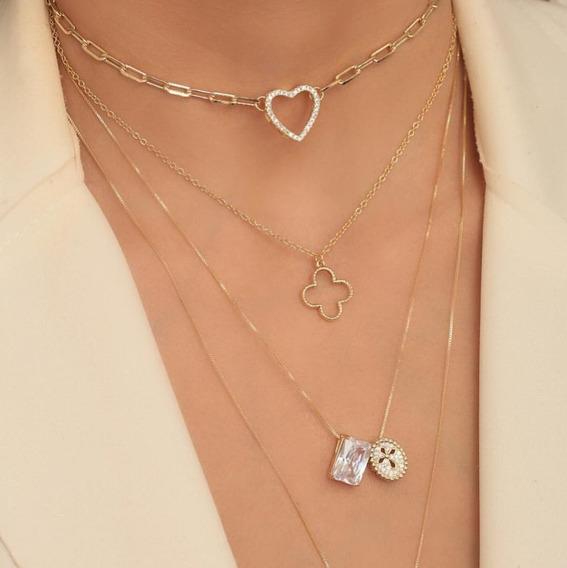 Choker Feminina Inspirada Cartier Corrente Coração Cravejado
