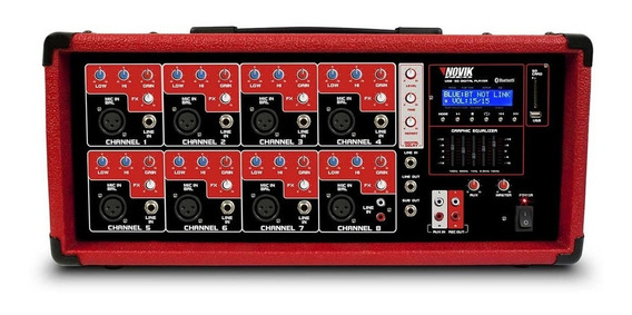 Mesa De Som Amplificada 8 Canais Novik Neo Nvk 8500bt 250w