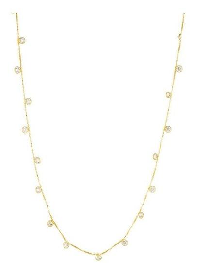 Corrente Veneziana Com Pedras Feminina Ouro 18k-750.