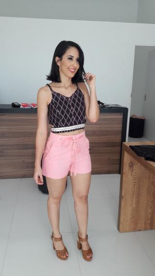 Conjunto Feminino Cropped Preto Short Rosa Lançamento 2019