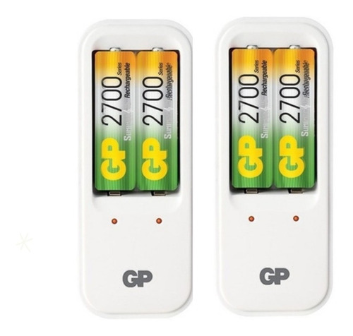 Cargador Con 4 Baterias Recargables Aa 2700mah Gp Pb410