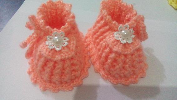 Sapatinho De Lã Crochê Para Bebê Kit C/6 Pares