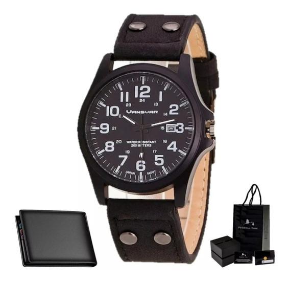 Relógio Masculino Preto Vintage Black Moda Retrô + Carteira