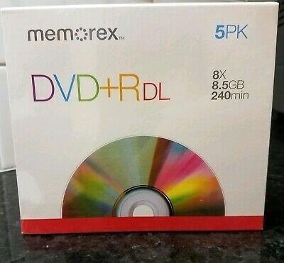 Memorex Dvd+r Dl Doble Capa 8x 8.5 Gb 240 Min Paquete De 5