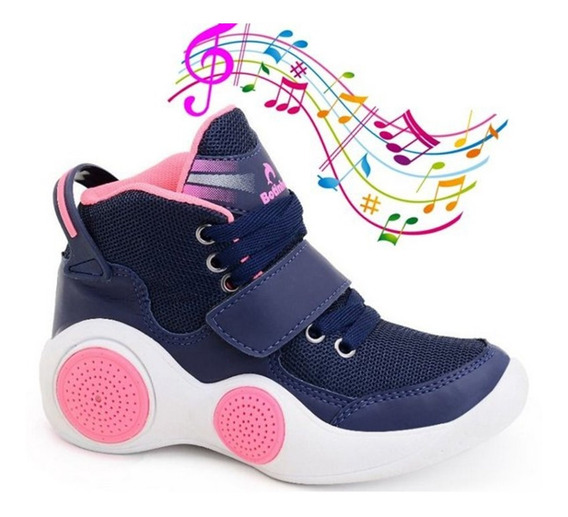 Tênis Musical Feminino Botinho Conexão Bluetooth Mar/pink