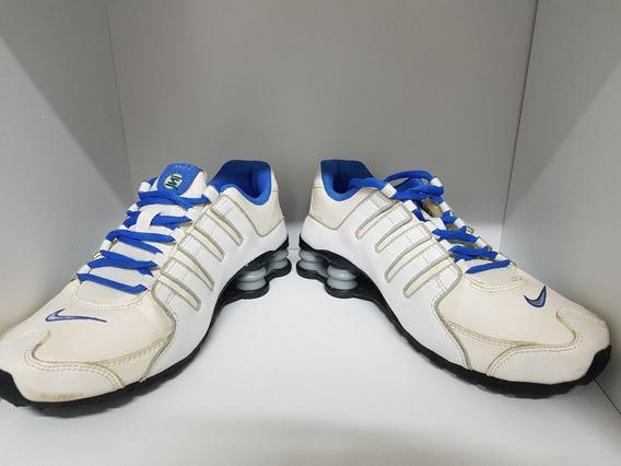 Nike Shox Nz 4 Molas Branco E Azul. Original E Super Novo - Ótimo Preço