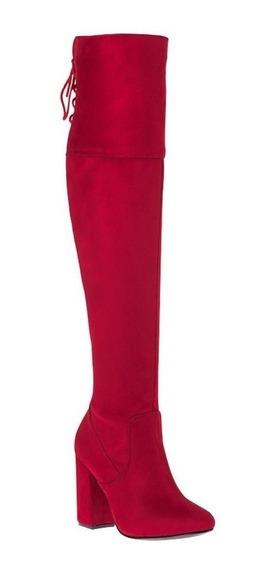 Bota De Vestir Yaeli Fashion Bt Rojo Tipo Ante Strech 10cm