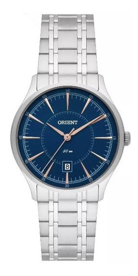 Relógio Quartzo Feminino Orient Fbss1132 Cromado, Fundo Azul Com Calendário, Resistente À Água 50m