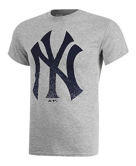Playera Yankees Majestic Original Gris Mc08-ny + Envio Dgt