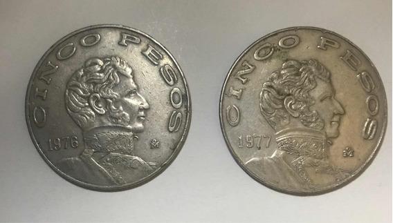 2 Monedas Antiguas Vicente Guerrero. 5 Pesos