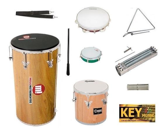 Kit Percussão Music Md: Tan-tam + Repique + Reco-reco + Pandeiro + Tamborim + Triângulo + Ganzá + Talabarte + Baqueta