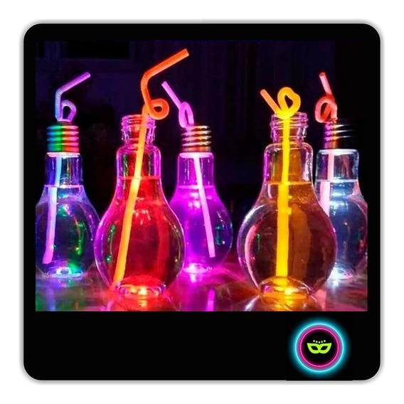 12 Vasos Luminosos Lampara Drink Led + 12 Sorbetes Neón