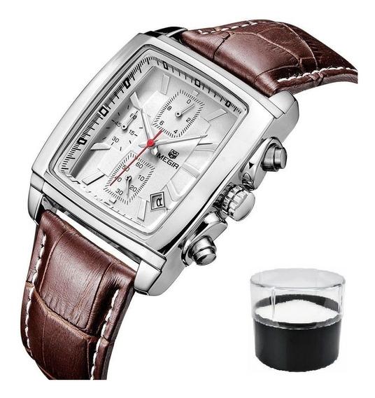 Relógio Original Megir 2028 De Luxo Com Cronógrafo E Couro