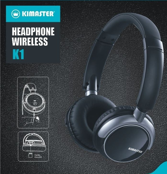 Headphone Bluetooth Kimaster K1 Rádio Cardsd Wireless Preto