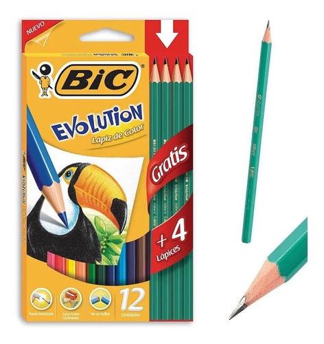 Imagen 1 de 3 de Lápices De Colores X 12 Bic Evolution + 4 Lapiz Negro 2hb
