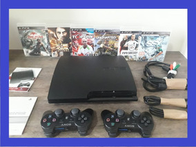 Ps3 Playstation + 02 Controle Slim + Bivolt + Jogos + Super